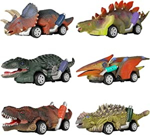 DINOBROS Dinosaur Toy Pull Back Cars, 6 Pack Dino Toys for 3 Year Old Boys and Toddlers, Boy Toys Age 3,4,5 and Up, Pull Back Toy Cars, Dinosaur Games with T-Rex