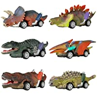 DINOBROS Dinosaur Toy Pull Back Cars, 6 Pack Dino Toys for 3 Year Old Boys and Toddlers...
