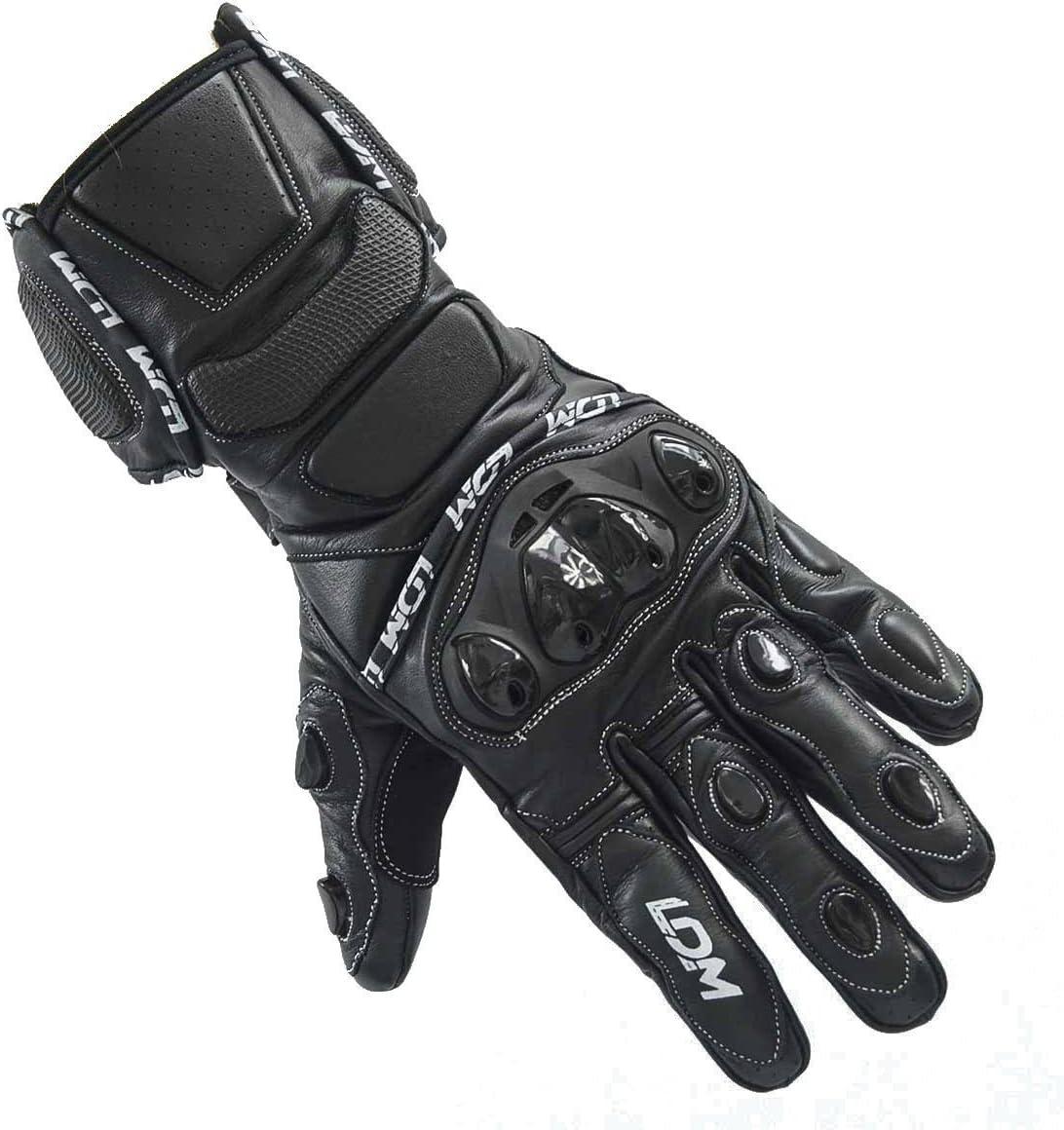 Guantes de piel para motocicleta color negro LDM Street-R