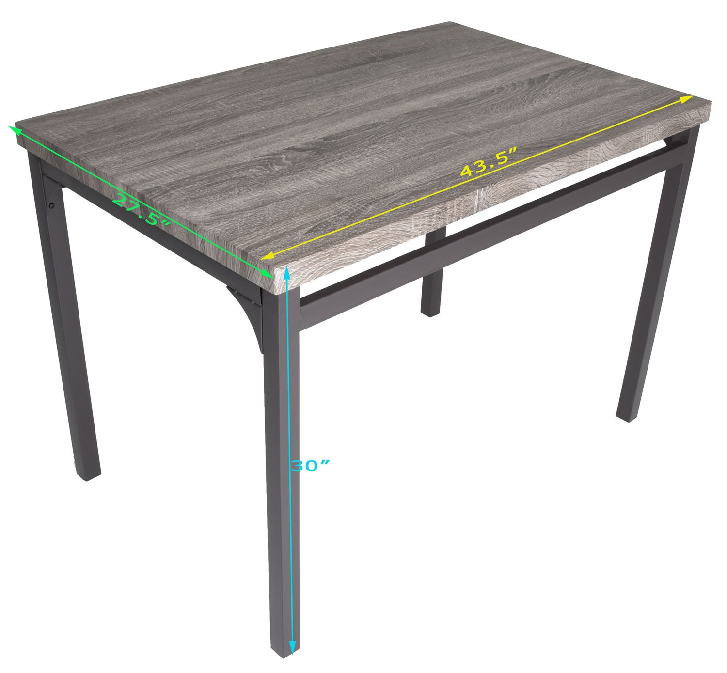 Zenvida 5 Piece Dining Set Rustic Grey Wooden Kitchen Table and 4 Chairs by Zenvida (Image #7)
