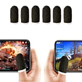 Finger Sleeve, Breathable Mobile Game Controller Finger Sleeve Touch Screen Finger Cot with Conducting Wire Fiber for PUBG Mobile, Rules of Survival, for Android iOS Tablet (6 Pack)