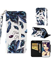 for Samsung Galaxy S7 Wallet Case with Card Holder and Screen Protector,QFFUN Elegant Design [Peacock Feather] Magnetic Stand Leather Phone Cases Drop Protection Etui Bumper Flip Cover with Lanyard