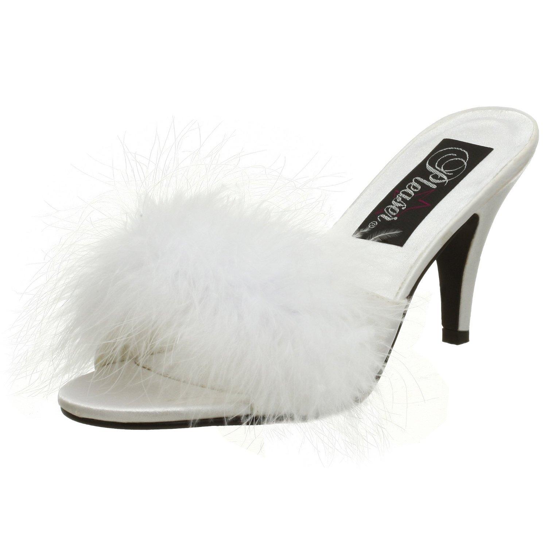 Pleaser Women's Amour-03 Sandal B00HVA1M3Q 14 B(M) US|White Satin-fur