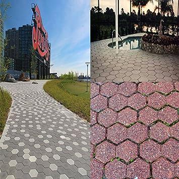 Hexagonal de Moda Jardín Calzada Camino Pavimentación Pavimento Piedra escalonamiento Plástico Ladrillo Herramientas de decoración de moldes, ...