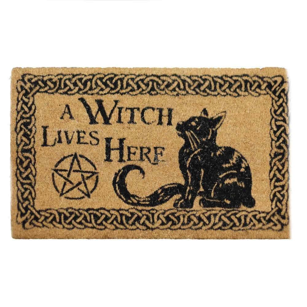 Une sorci/ère vit ici Fantasy chat noir et paillasson pentagramme marron Nemesis Now