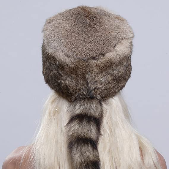 Amazon.com  URSFUR Genuine Rabbit Fur Davy Crockett Hat Coonskin Cap with Raccoon  Tail Brown  Clothing 3e96fd67ea58