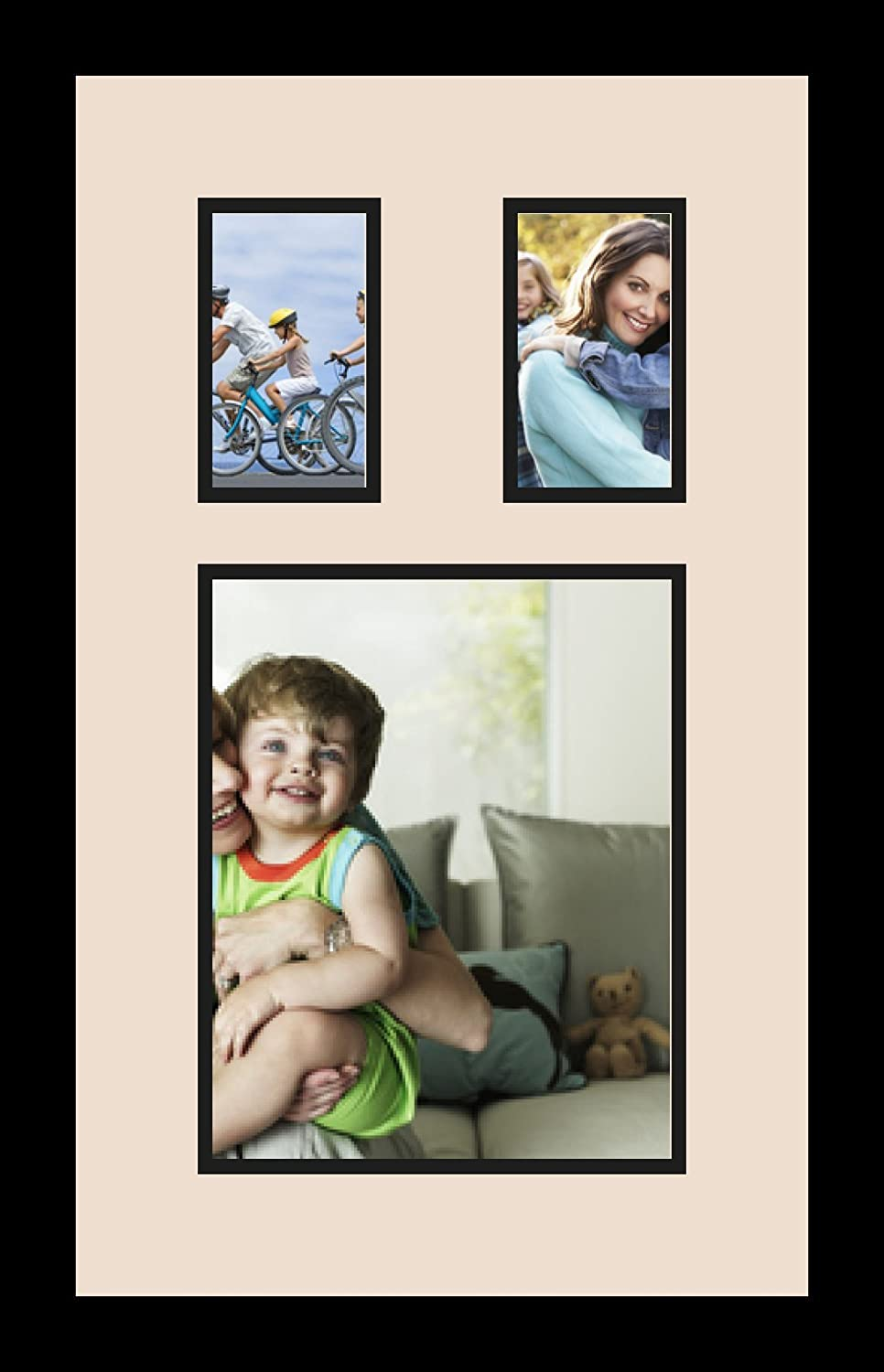 ArtToFrames Collage Photo Frame Double Mat with 1-8x10 and 2-3x5 Openings and Satin Black Frame Double-Multimat-1643-825//89-FRBW26079
