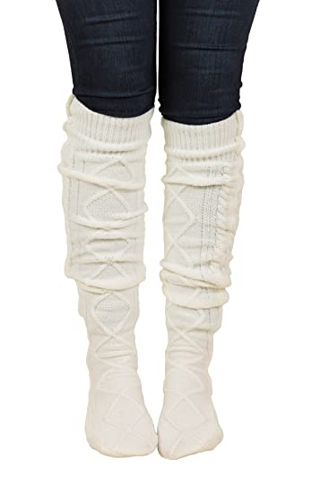 ac57f4d17 Image Unavailable. Image not available for. Color  Floral Find Women s  Cable Knit Knee-High Winter Boot Socks Extra Long Thigh Leg Warmers