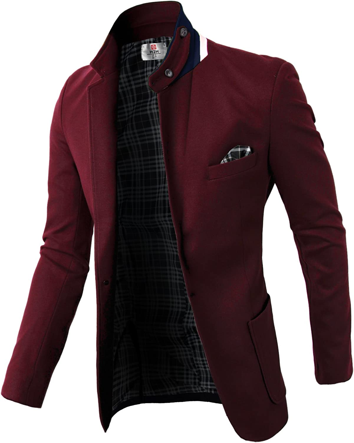 H2H Mens Casual Slim Fit Jackets Single Breasted Business Jackets Suit