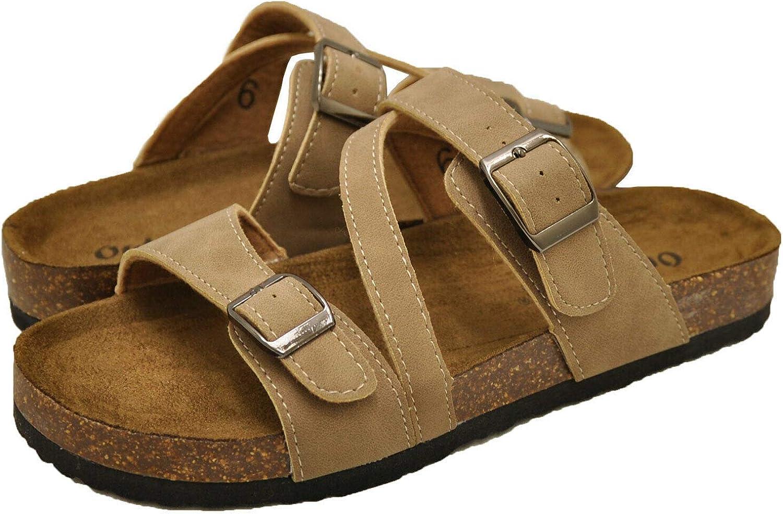 OUTWOODS Womens Bork-56 Vegan Leather Adjustable Strap Buckle Flats Sandals