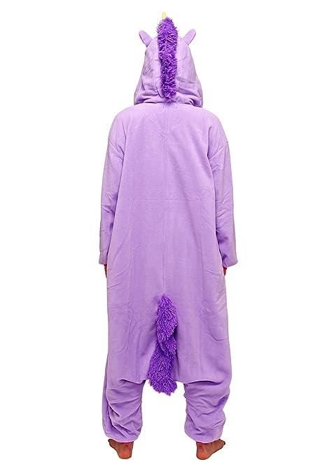 Unicornio púrpura - Todo en un disfraz para adultos - Onesie Kigurumi: Amazon.es: Juguetes y juegos