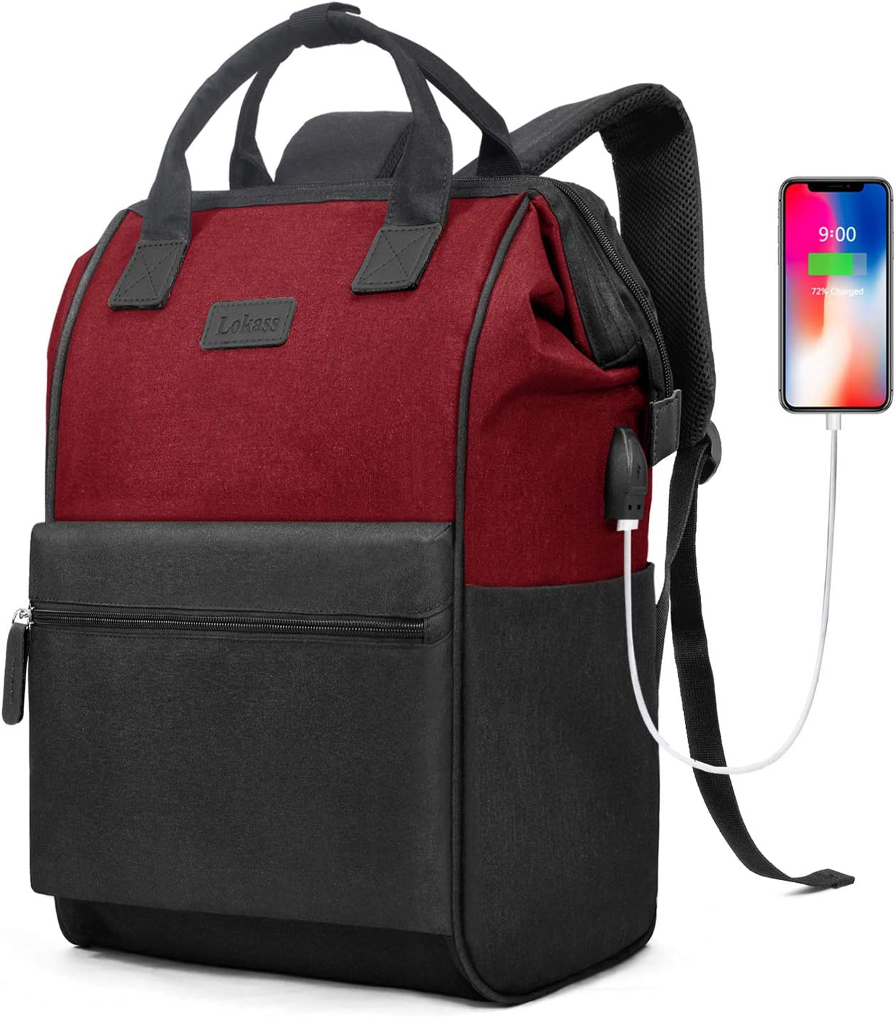 BRINCH Laptop Backpack 15.6 Inch Wide Open Computer Backpack Laptop Bag College Rucksack Water Resistant Business Travel Backpack Casual Daypack with USB Charging Port for Women Men,Black-Red
