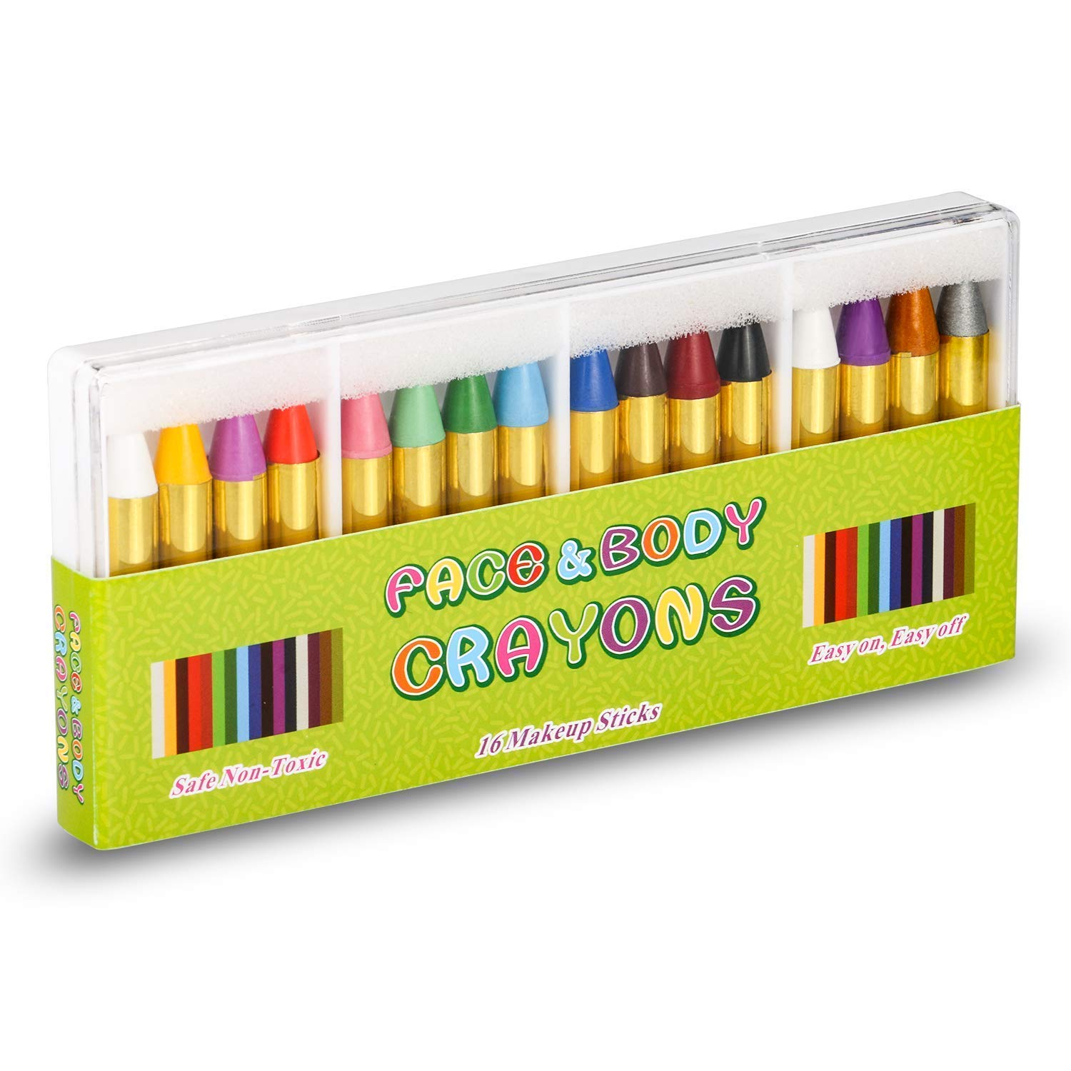 Face Paint Crayon Face Painting Kit for Kids, 16 Color Face and Body Crayons Safe & Non Toxic Washable Face Paint Halloween Cosplay Festival Makeup Body Paint for Toddler, Children, Adult,Teen, Boy UNEEDE