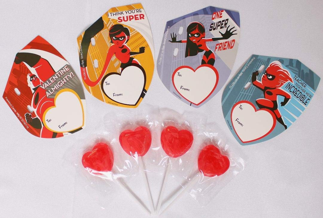 Incredibles 2 Kids Valentine Day Candy Card Kit With 28 Cards and Lollipops With Teacher Card Included Frankford
