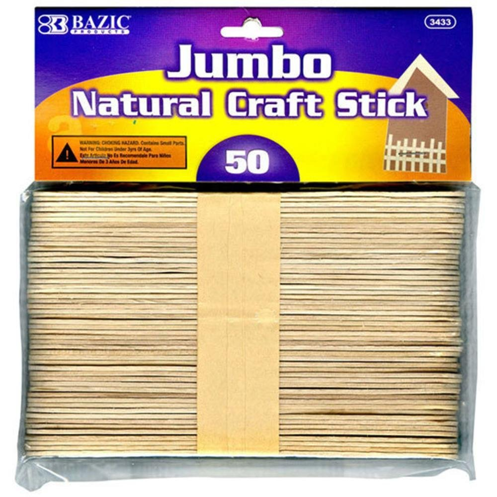 Jumbo wood craft sticks - Amazon Com Bazic Jumbo Natural Craft Stick Wood 50 Per Pack Office Products