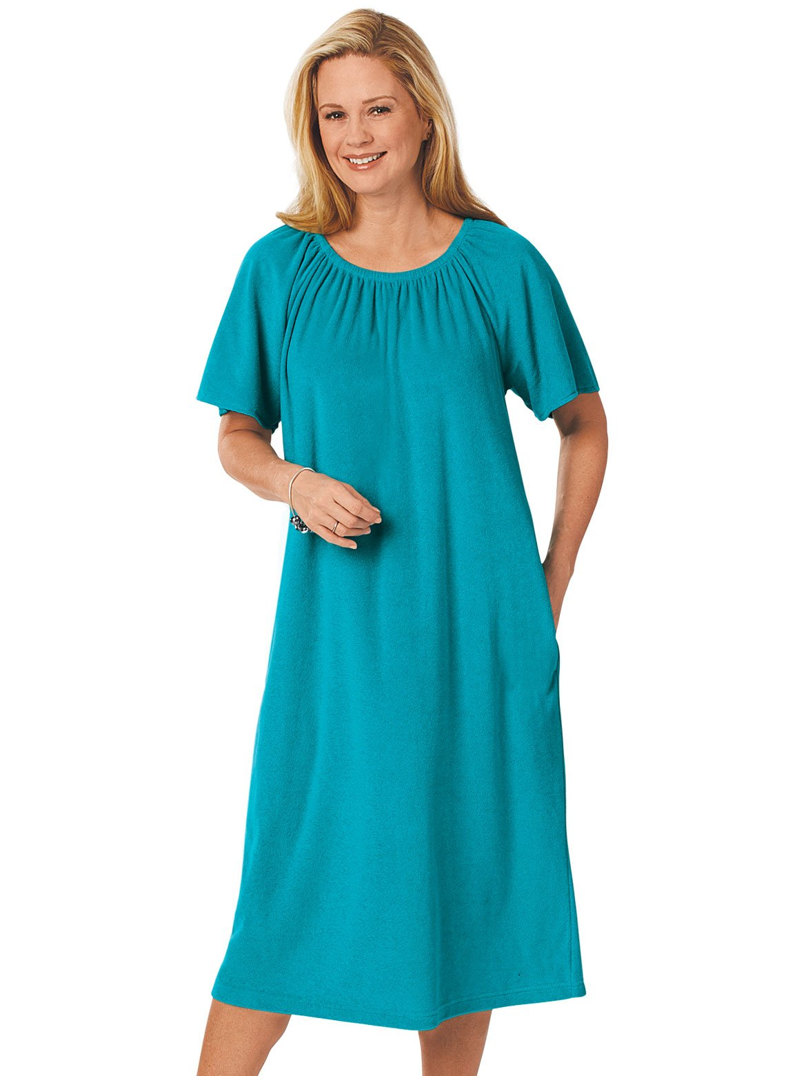 Carol Wright Gifts Terry Pop-Over Dress, Jade, Size Extra Large (3X)