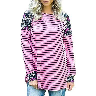 d17c6a599 Amazon.com: SRYSHKR Plus Size Women's Long Sleeve Stripe Flowers ...