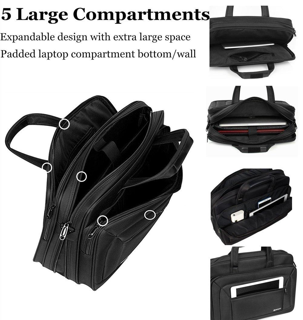 af07993bf0d3 KOPACK Laptop Briefcase Expandable Large Capacity 15.6 Inch Laptop Bag  Water Resistant Scratch-resistant Nylon Shoulder Computer Bag Black