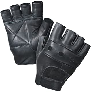 8ddb7c1e52623 Fingerless Leather Cycle Biker Gym Gloves Cycling Body building weight  lifting Black