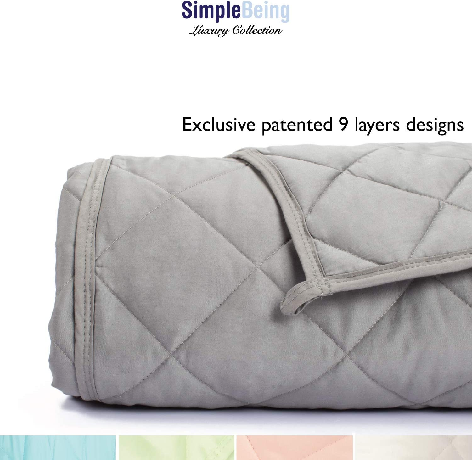 Simple Being Weighted Blanket 3.0, 80x87 25lb, Patent Pending 9 Layers Design, Best Heavy Calming Blanket, Cooling Cotton Glass Beads, High Degrees of Breathability, Stone Grey