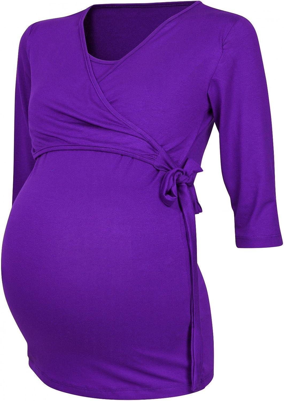 Womens Maternity Nursing 2in1 Bolero Top Shirt 3//4 Sleeve Happy Mama 458p