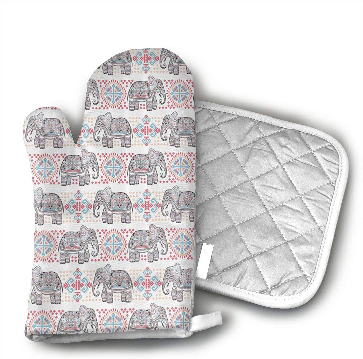 Ethnic Asian Safari Theme Animal Elephant Oven Mitts and Pot Holders Heat Resistant Gloves to Oven Gloves for Safe BBQ Cook Baking Grilling