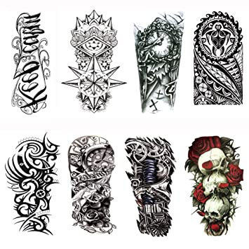 80d6f1739c4a0 Yesallwas Large Fake Waterproof Removable Temporary Tattoo Sticker(8  Sheets),Fashion Long Lasting