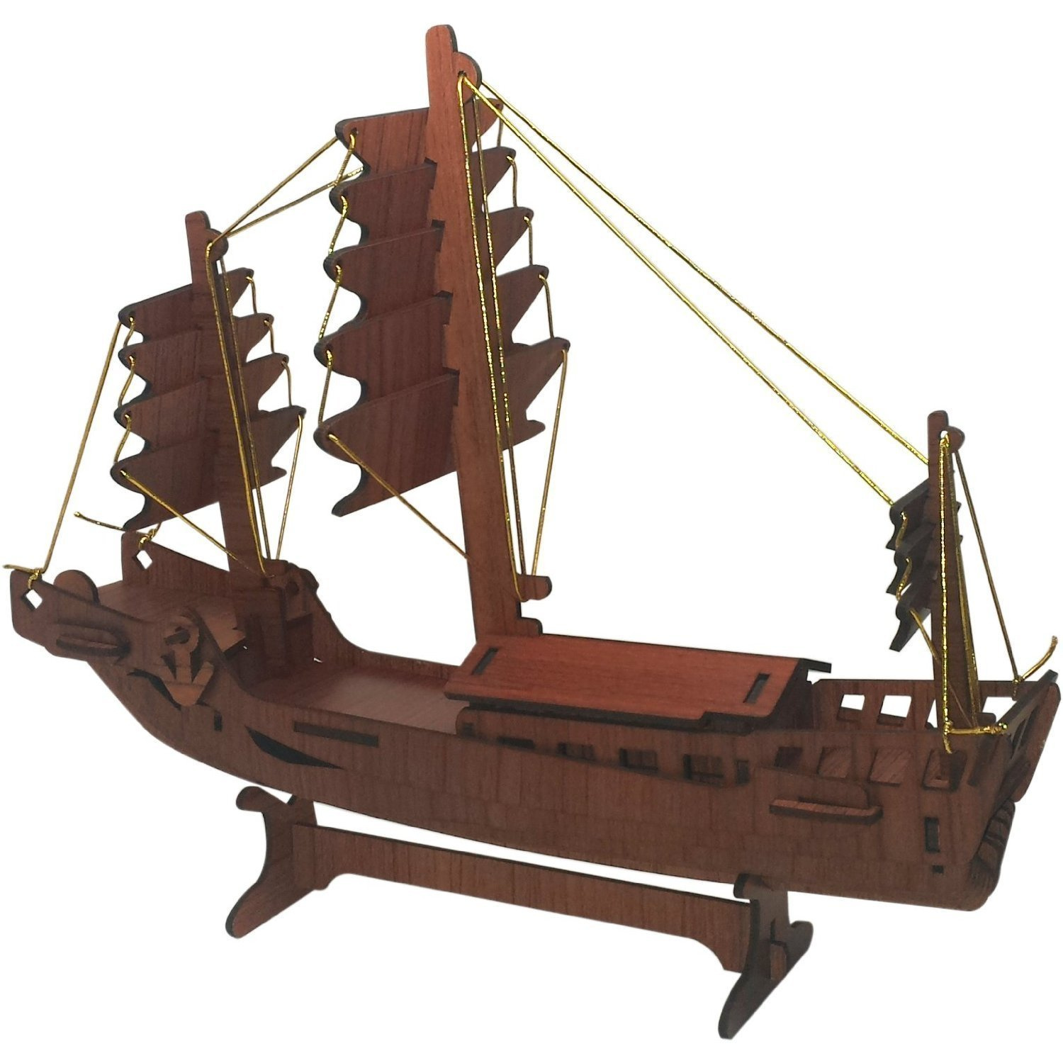 Rosewood Puzzles Inc. Boat 3D Puzzle - Rosewood Color Fun Mind-Challenging 3D Puzzle!