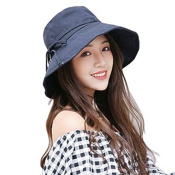 8ec8a319 TAGVO Ladies Bucket Hats, Summer Wide Brim UV Protection Floppy Foldable Sun  Hat Bowknot Beach