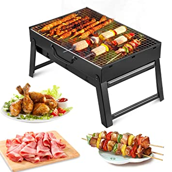 Barbacoa Portátil de Acero Inoxidable,Mini Barbecue con Rejilla Portátil Plegable Barbacoa de Exteriores (3 - 5 Personas) para BBQ, Picnic, Acampadas, ...