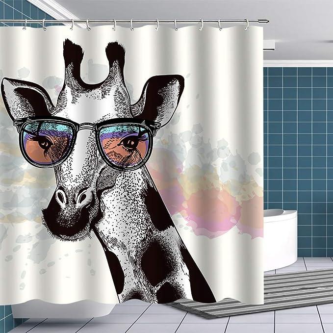 Btty Premium Giraffe Shower Curtain Grey Fashion Noble Giraffe Wear Sunglasses Fabric Bathroom Curtain With Hooks Funny Shower Curtain Sets Novel Animal Bathroom Decoration Accessory 70x70inches Kitchen Dining Amazon Com