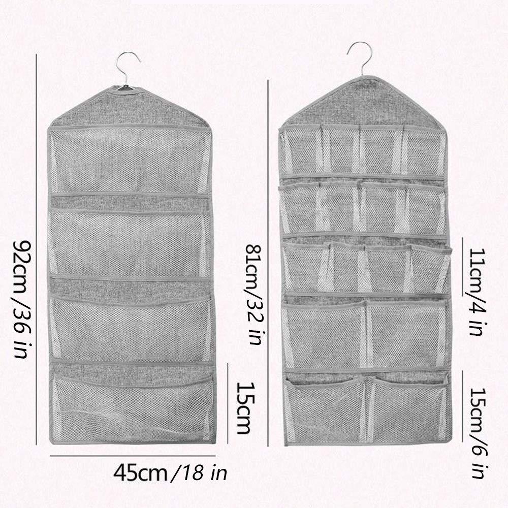 Kalolary Organizador de Armario Colgante, 20 bolsillos grises de doble cara de múltiples funciones Mesh Pocket Percha de metal para ropa interior, medias, ...