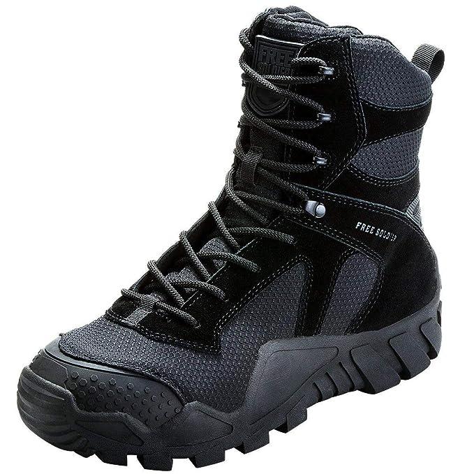 FREE SOLDIER Gratuit Soldat Chaussures High Top Militaire pour Homme Tactique Bottes de randonnée à Lacets Travail Combat Tous Les terrains résistante