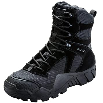 c1ba4471ae5f2 FREE SOLDIER Men Military High-top Shoes Tactical Hiking Boots Lace Up Work Combat  All