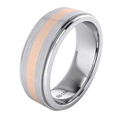 Landa Jewel Solid Gold Inlaid Heavy 8mm Sterling Silver Mens Wedding