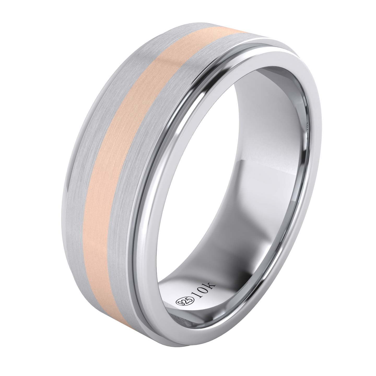 LANDA JEWEL Solid 10K Rose Gold Inlaid Heavy 8mm Sterling Silver Mens Wedding Band Comfort Fit Two Tone (11.5)