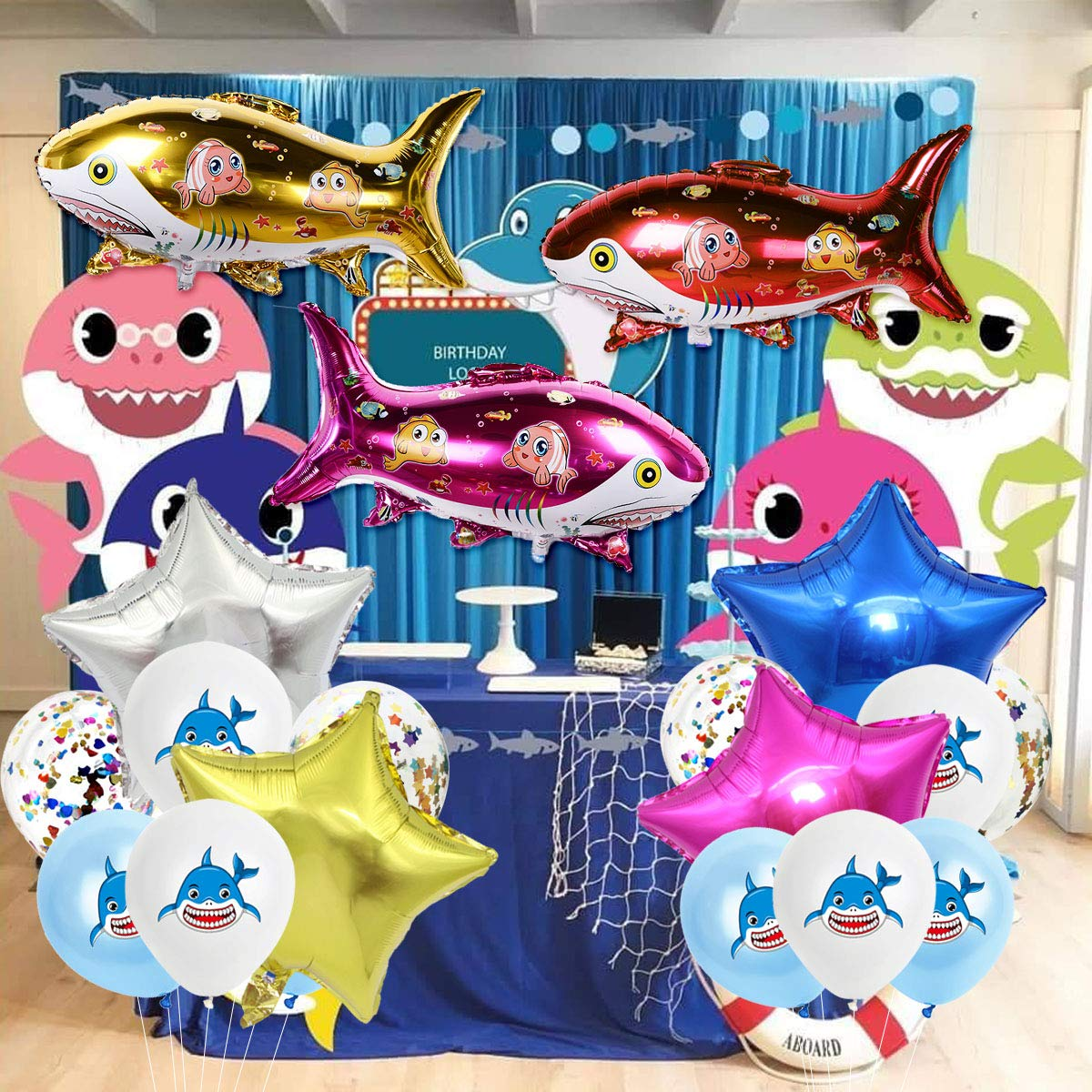 JOYMEMO 28 Piezas de Globos de tiburón Ocean Baby Cute Shark Party Decoration for Birthday Baby Shower: Amazon.es: Juguetes y juegos