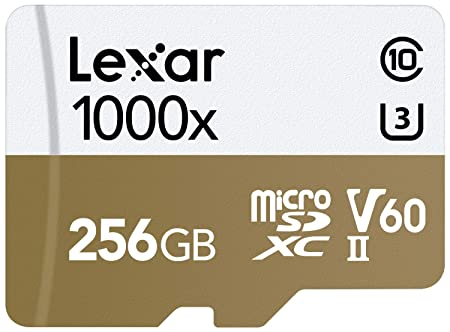 Lexar Professional 1000x microSDXC 256GB UHS-II/U3 W/USB 3.0 Reader Flash Memory Card - LSDMI256CBNL1000R Memory Cards at amazon