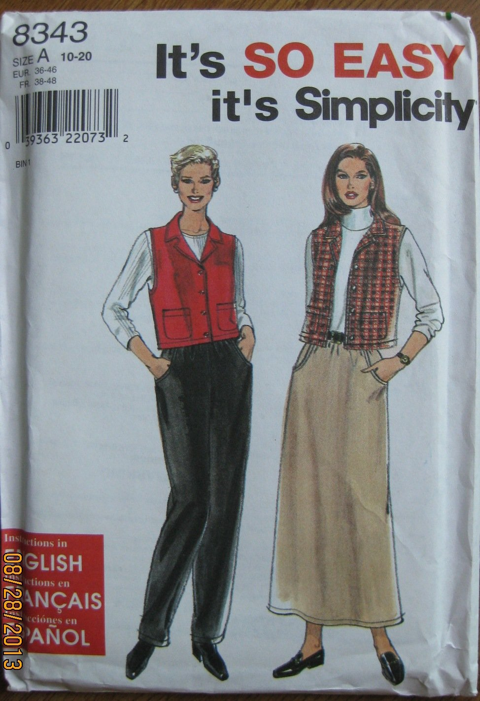Amazon.com: Simplicity Pattern 8343 Tallas Chaleco ...