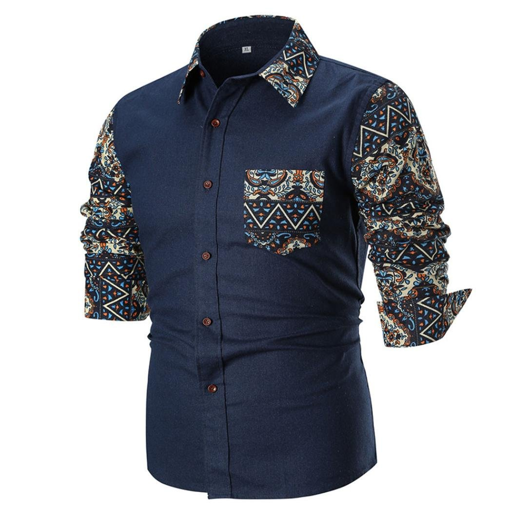 vermers Fashion Long Sleeve Shirts for Men - Personality Mens Casual Slim Printed Button Down Shirt Top Blouse(L, Multicolor)