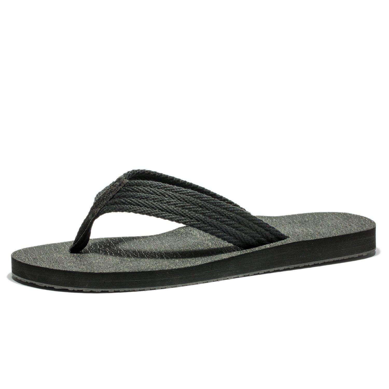 Duckmole Pathbreaker Flip Flops Men, The Best Non Slip Summer Beach Slippers, Mens Confortable Wide Platform Thong Sandals(48M EU / 14 D(M) US, Black