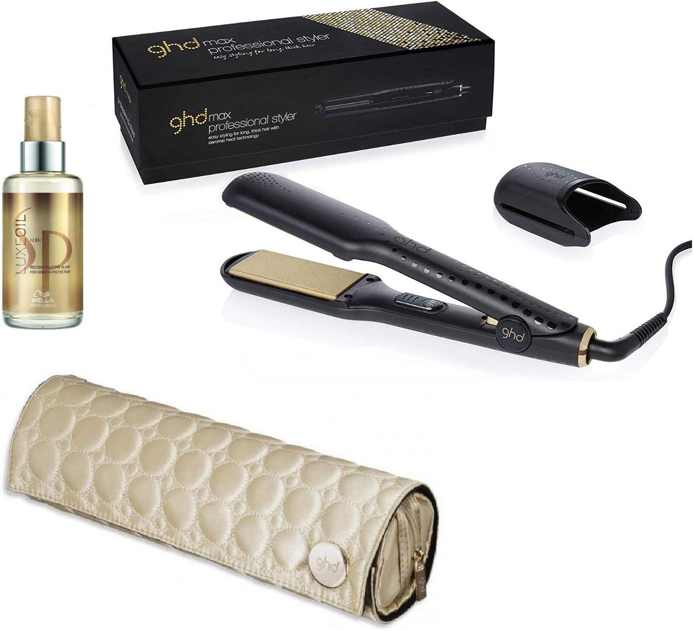 Plato ancho plancha alisador de cabello/ghd Max Stylers w/Gold Heatmap/Case & Wella SP Reconstructive Luxe Oil Set de regalo