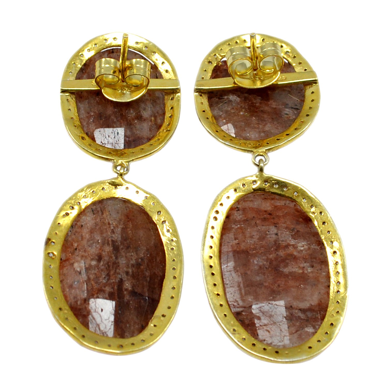 Handmade Jewelry Manufacturer Gold Vermeil 925 Sterling Silver Oval Shape Bronze Rutile Quartz /& Zircon Dangle Earring Jaipur Rajasthan India