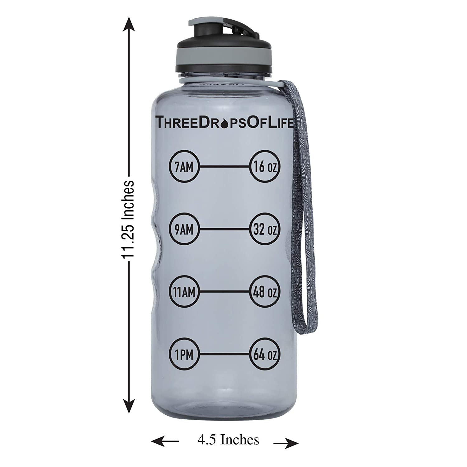 Best Daily Hydration Monitor Three Drops of Life 64oz Hydration Tracking Large Sports Water Bottle The Largest Time Tracker Sport Bottles