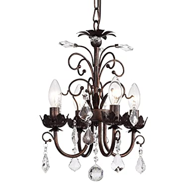 Edvivi 4-Light Antique Copper Chandelier with Crystals Glam Lighting