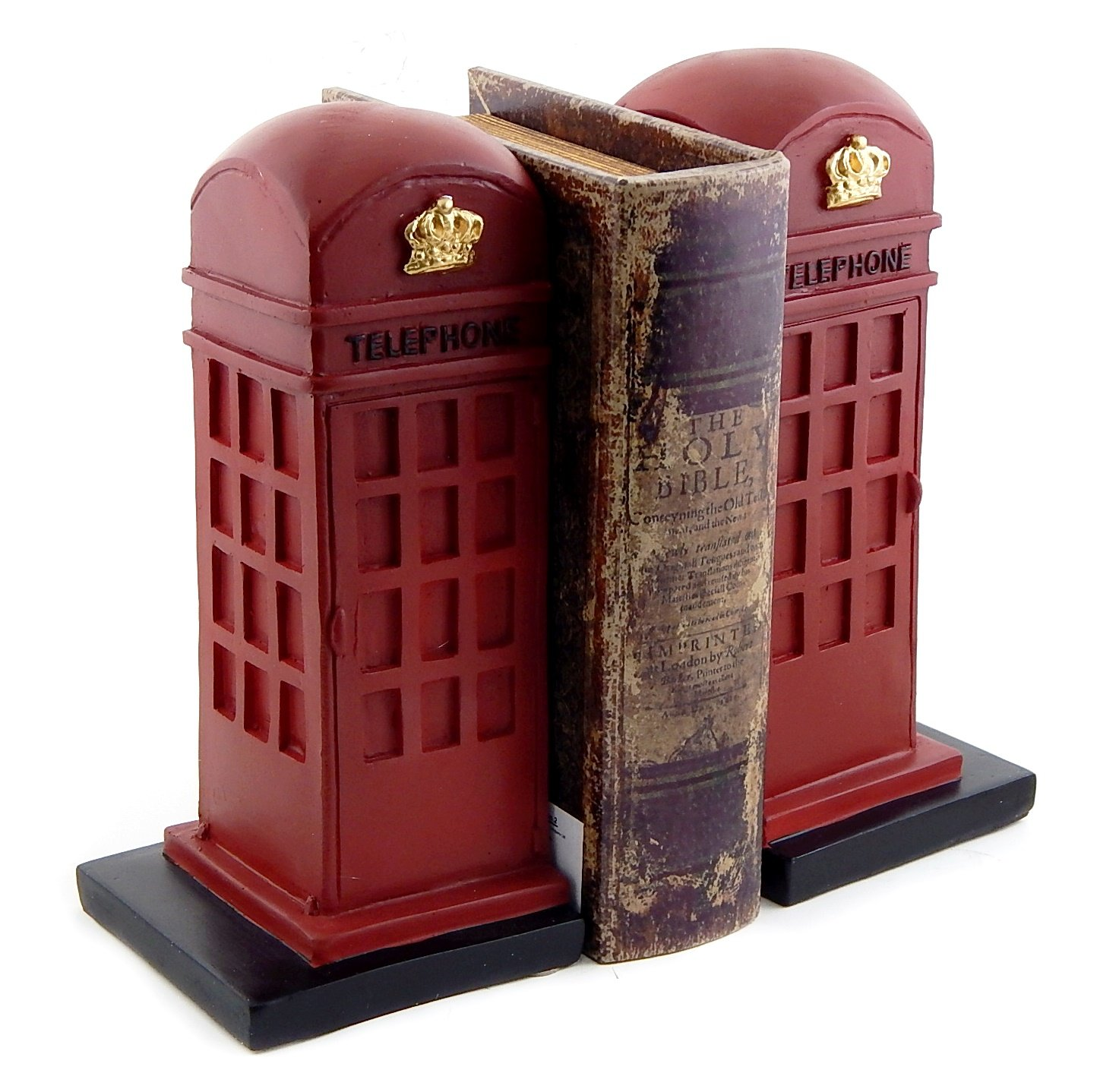 Bellaa 25730 London Telephone Bookends British Phone Booth 9in