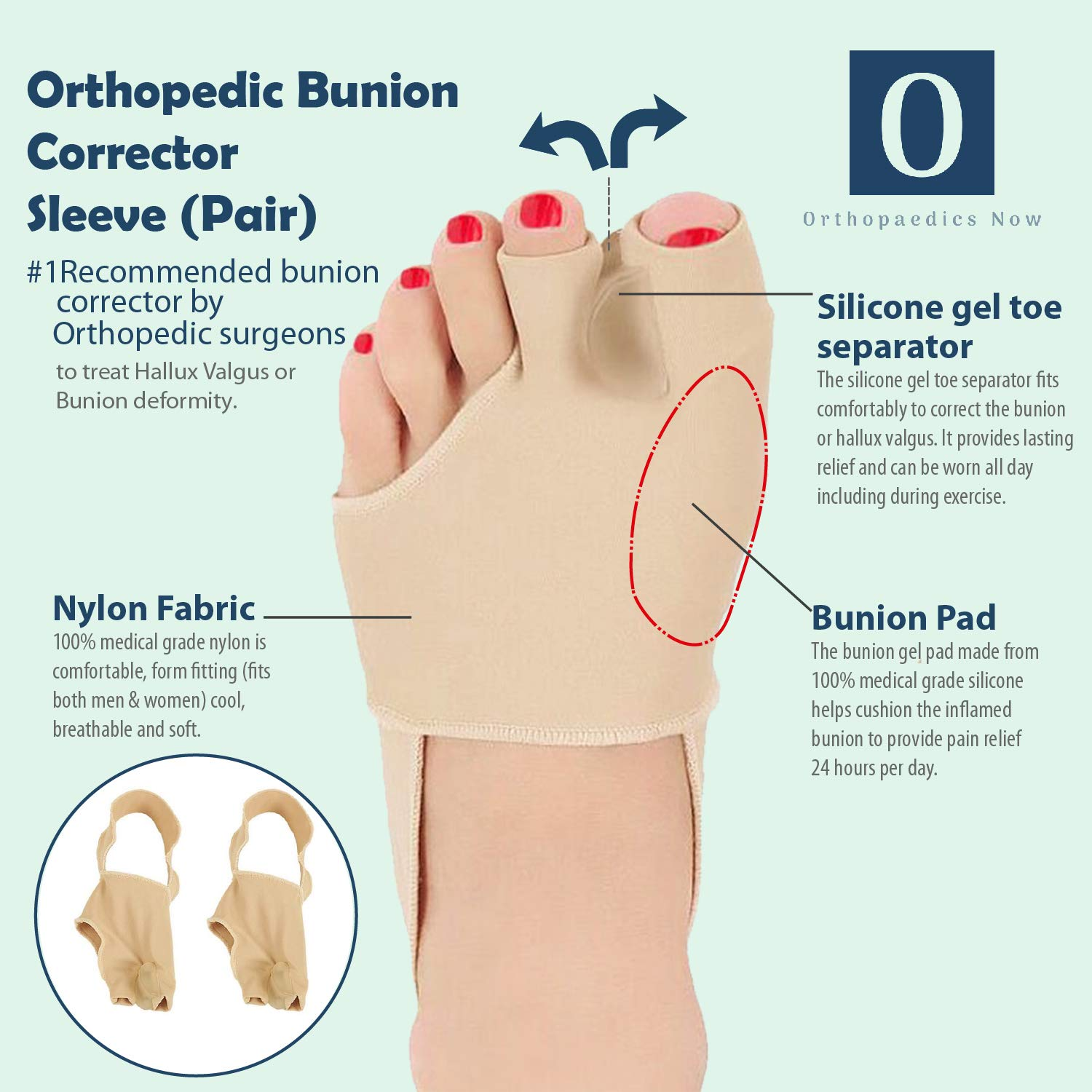 Amazon.com: Orthopedic Bunion Corrector | Bunion Relief | Bunion Splint | Big Toe Straightener with Bunion Pads - Bunion Corrector Sleeve, Hallux Valgus, ...