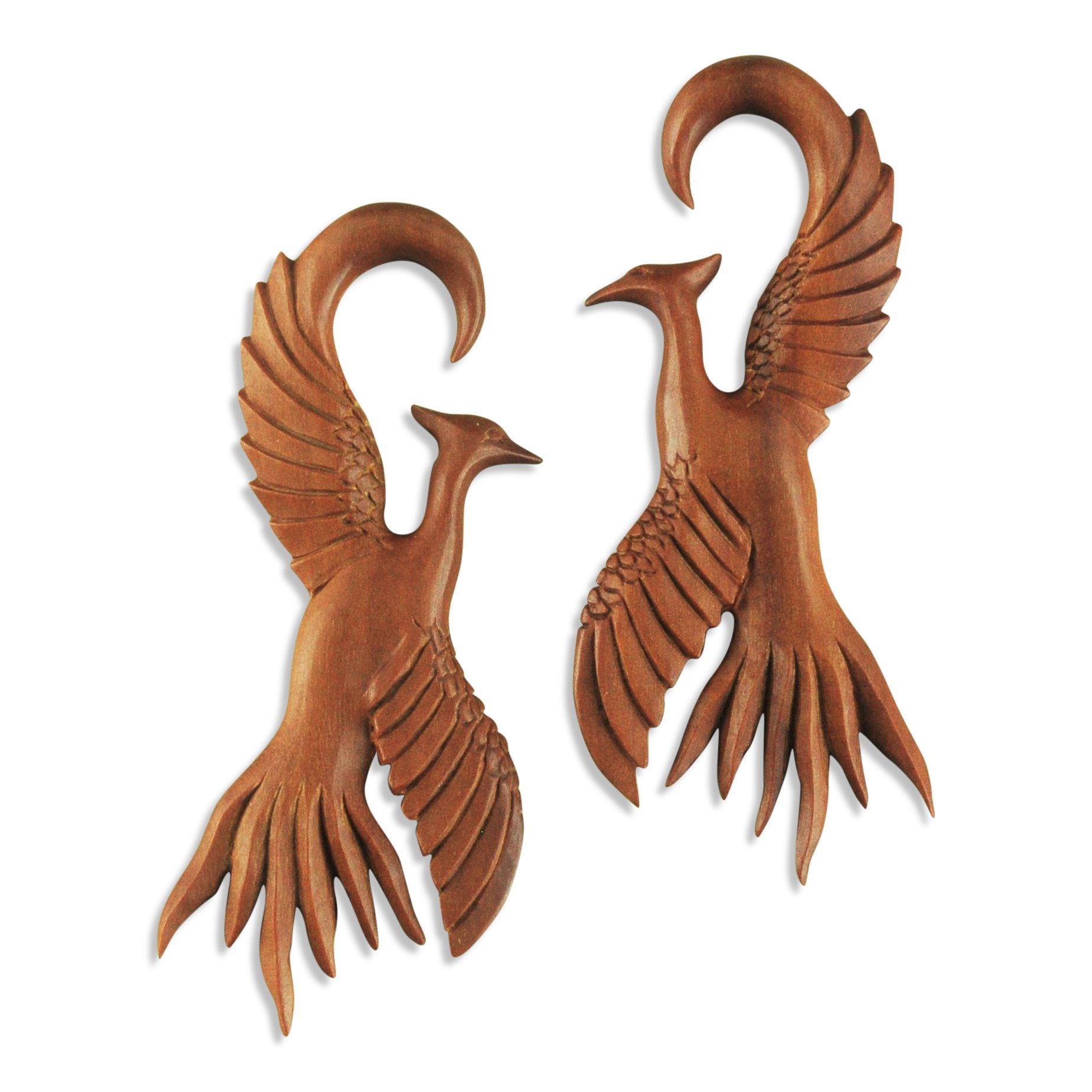 ArcticBuffalo Sawo Wood Bird Hangers Ear Gauges by ArcticBuffalo