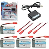 HOBBYTIGER 3.7V 800mAh Lipo Battery + 4 in 1 Batteries Charger for MJX X400 X400W X300C X800 X500 X200 Sky Viper S670 V950hd V950str HS200W RC Quadcopter Drone
