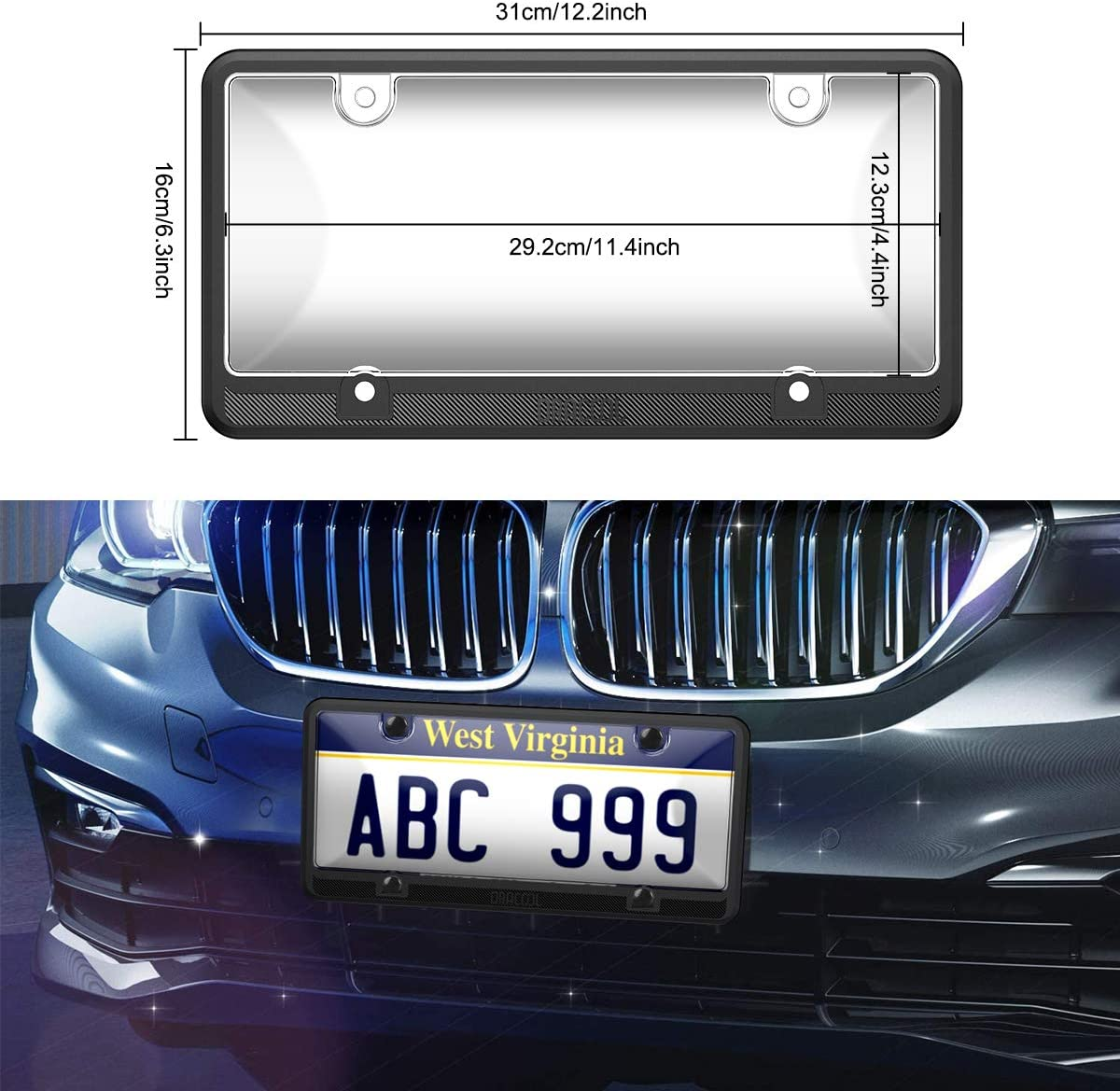 Black Dracool for License Plate Frame 4 Holes Silicone Frames for US Standard Car and Clear Transparent Plastic Covers 360 Degree Unbreakable Plates Holder Waterproof,Rust-Proof 4 Screws Included
